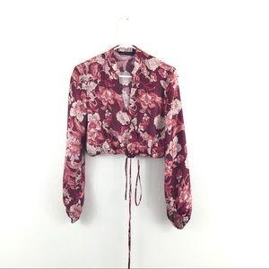 Zara Woman Silky Pink Floral Cropped Wrap Blouse